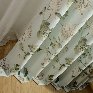 Pastel Peony Green and Cream Floral Curtain 3