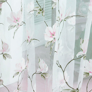 Pink Morning Flower Voile Curtain 1
