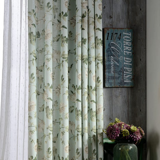 Pastel Peony Green and Cream Floral Curtain 2