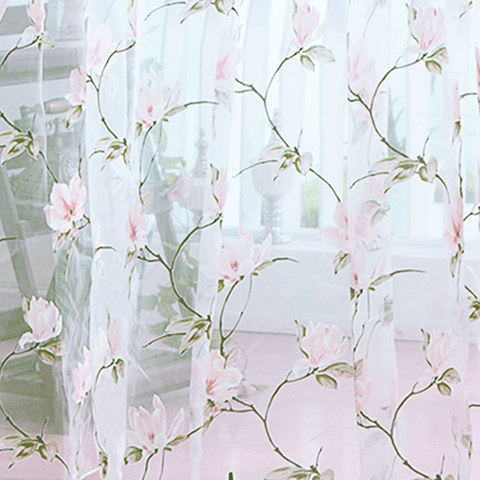 Pink Morning Flower Voile Curtain 2