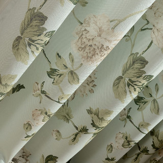Pastel Peony Green and Cream Floral Roman Blind 2