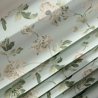 Pastel Peony Green and Cream Floral Roman Blind 1