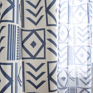 The City Sketch Blue Modern Geometric Voile Curtain 7