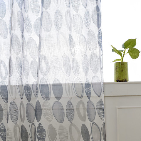 Infinity Blue Modern Geometric Voile Curtain 1