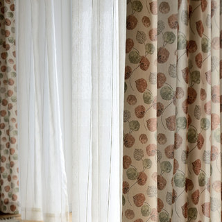 The Eucalyptus Moment Brown Leaf Curtain 2