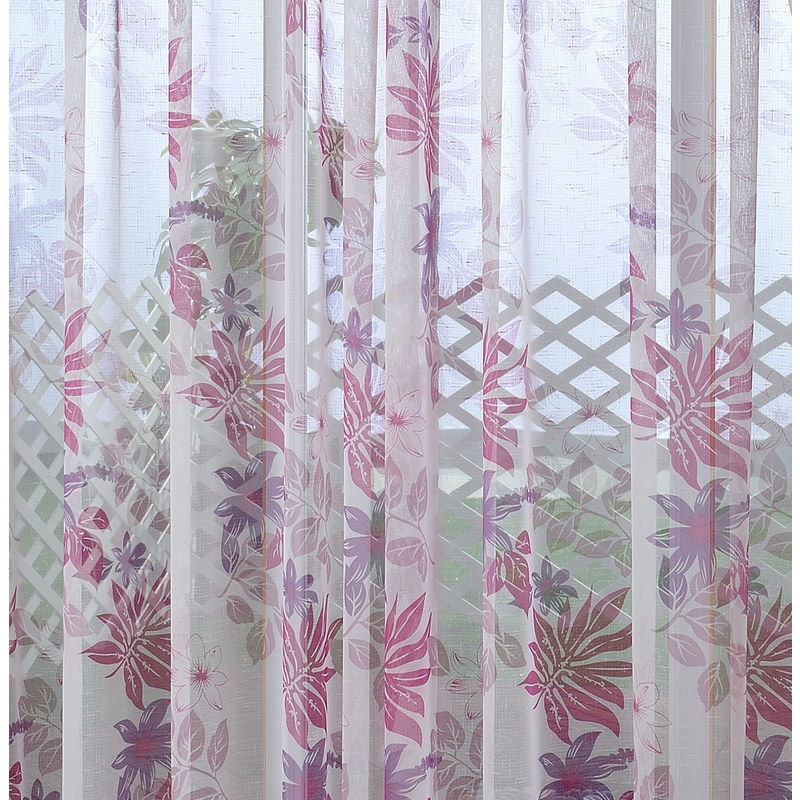 tropical leaves purple pink voile curtain voila voile. Black Bedroom Furniture Sets. Home Design Ideas
