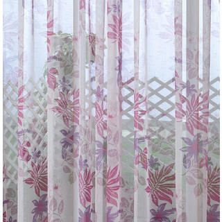 Tropical Leaves Purple Pink Voile Curtain 1