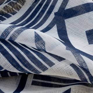 The City Sketch Blue Modern Geometric Voile Curtain 3