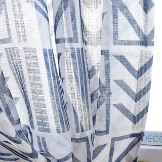 The City Sketch Blue Modern Geometric Voile Curtain 1