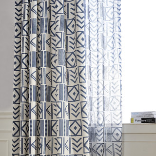 The City Sketch Blue Modern Geometric Voile Curtain 6