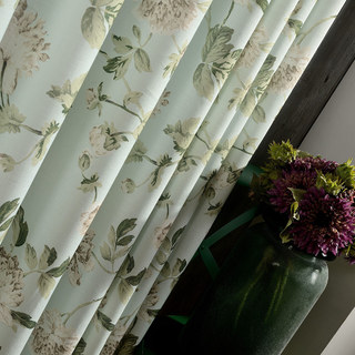 Pastel Peony Green and Cream Floral Curtain 4