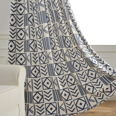 The City Sketch Blue Modern Geometric Curtain 3