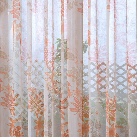 Tropical Leaves Orange Voile Curtain 1