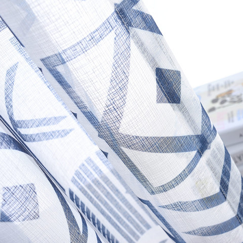 The City Sketch Blue Modern Geometric Voile Curtain 2