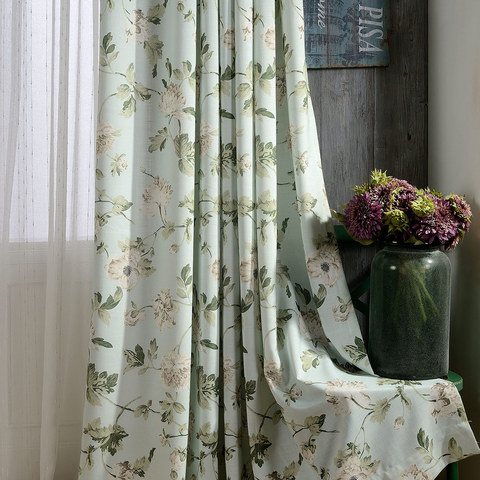 Pastel Peony Green and Cream Floral Curtain 1