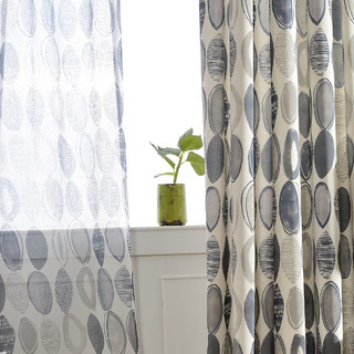 Infinity Blue Modern Geometric Patterned Curtain 6