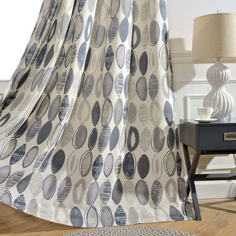 Infinity Blue Modern Geometric Patterned Curtain 2