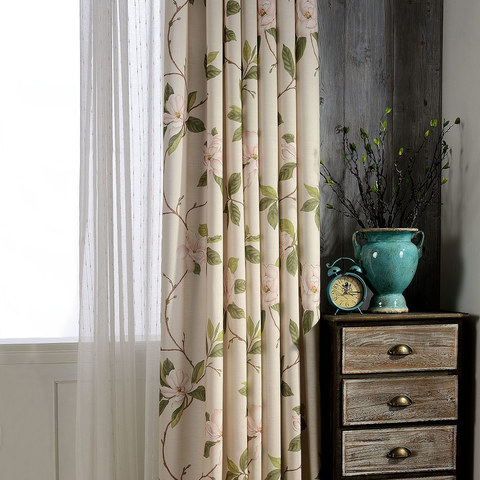 Smell The Roses Pastel Pink Floral Curtain 1