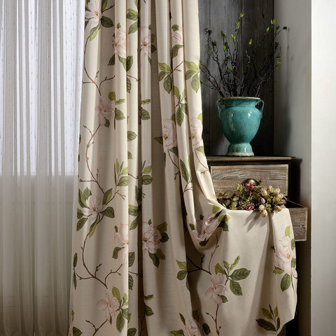 Smell The Roses Pastel Pink Floral Curtain 4
