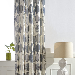 Infinity Blue Modern Geometric Patterned Curtain 1