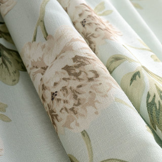 Pastel Peony Green and Cream Floral Curtain 6