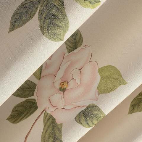Smell The Roses Pastel Pink Floral Curtain 7
