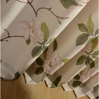 Smell The Roses Pastel Pink Floral Curtain 5