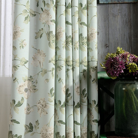 Pastel Peony Green and Cream Floral Curtain 5