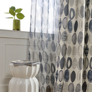 Infinity Blue Modern Geometric Patterned Curtain 5