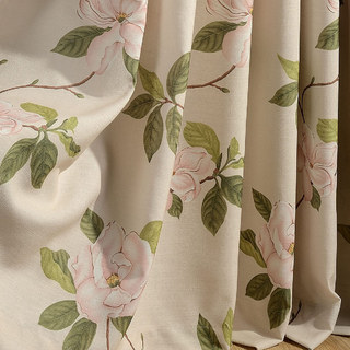 Smell The Roses Pastel Pink Floral Curtain 6