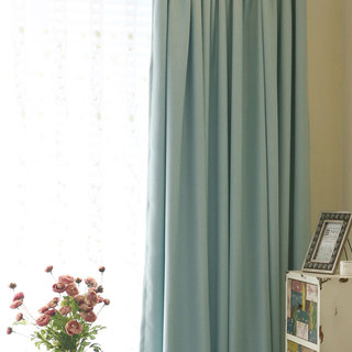 Subtle Spring Turquoise Green Curtain 1