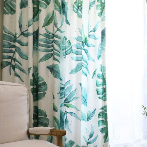 Tropical Jungle Palm Tree Green Leaf Curtain 3