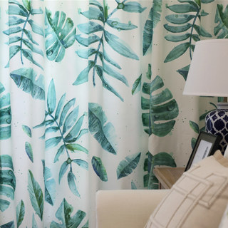 Tropical Jungle Palm Tree Green Leaf Curtain 6