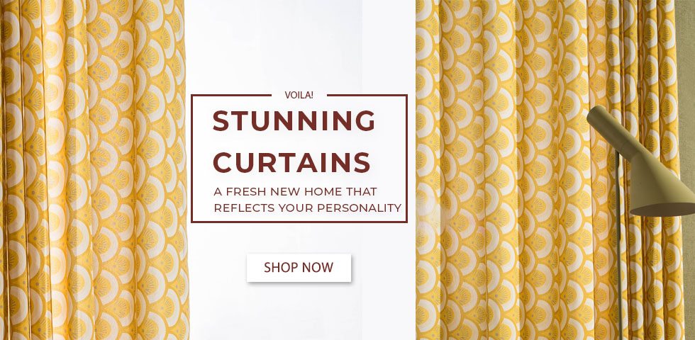Geometric Patterned yellow curtain and blinds