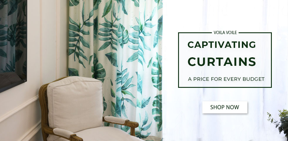 Unique Tropical Palm Tree Green Leaf Curtains