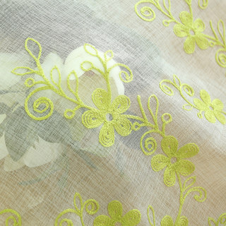 Sheer Curtain Touch Of Grace Embroidered Lime Green Flower Voile Curtain 6