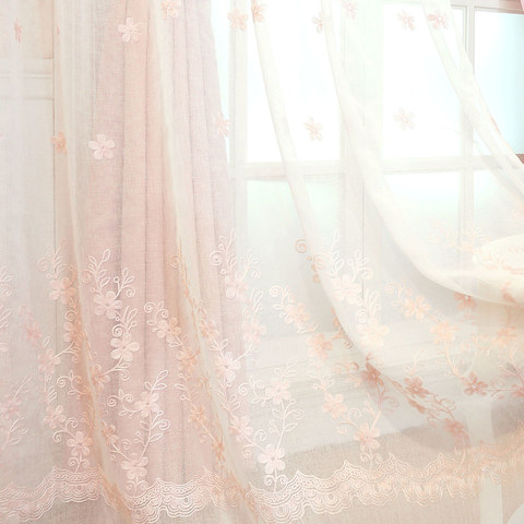 Touch Of Grace Embroidered Blush Pink Flower Voile Curtain 3
