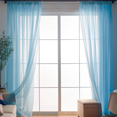 Smarties Baby Blue Soft Sheer Voile Curtain 3
