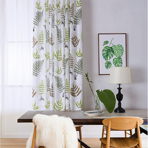 Lush Ferns Green Linen Voile Curtains 1