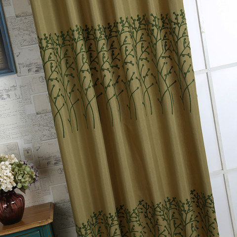 Trees of the Four Seasons Yellow Olive Green Curtain 4