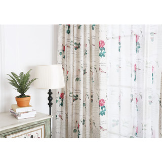 Misty Meadow Rose And Bird Ivory Sheer Voile Curtain 4