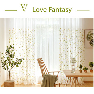 Love Fantasy Chartreuse Green Leaf Voile Curtain 4