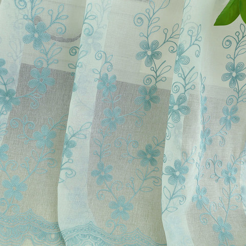 Sheer Curtain Touch Of Grace Embroidered Blue Flower Voile Curtain 8