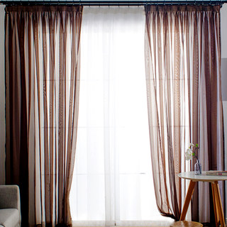 Smarties Chocolate Brown Soft Sheer Voile Curtain 1