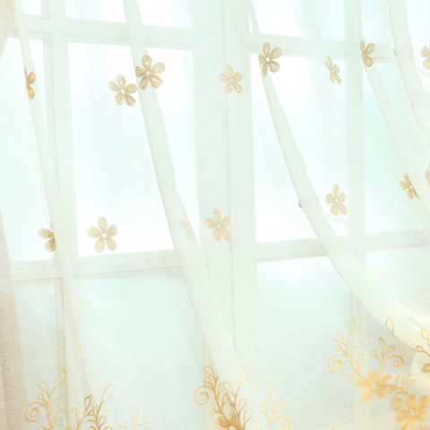 Sheer Curtain Touch Of Grace Embroidered beige Flower Voile Curtain 2
