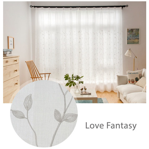 Love Fantasy Ivory Leaf Voile Curtain 3