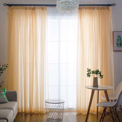 Smarties Champagne Yellow Soft Sheer Voile Curtain 2