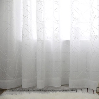 Sheer Curtain Simplicity Embroidered White Voile Curtain 3