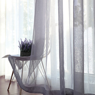 Luxe Light Grey Sheer Voile Curtain 1
