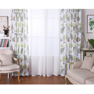 Lush Ferns Green Linen Voile Curtains 2